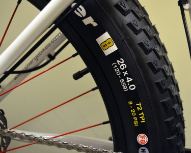 """26"""" x 4"""" rubber means you get plenty of traction"""