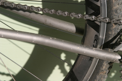 Note the slight grease marks on the chainstay. This is an indicator that the chain has come in contact with the stay and will eventually chip the paint off and possibly even damage the frame given enough time.