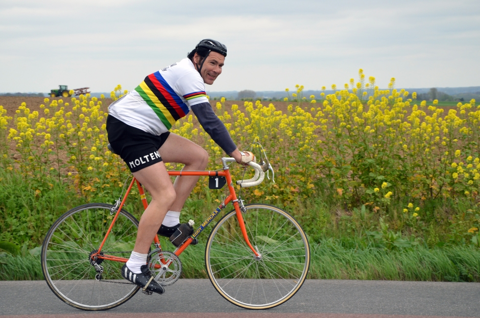 Eddy Merckx impersonator at the Tour of Flanders