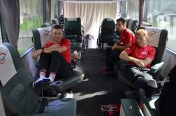 Pro riders hanging out on the bus