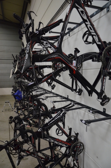 Rider's team bikes are carefully organized - each rider has about 5