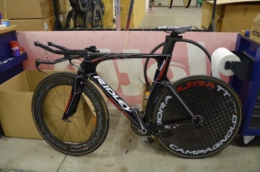 A Ridley Dean time trial bike being built up