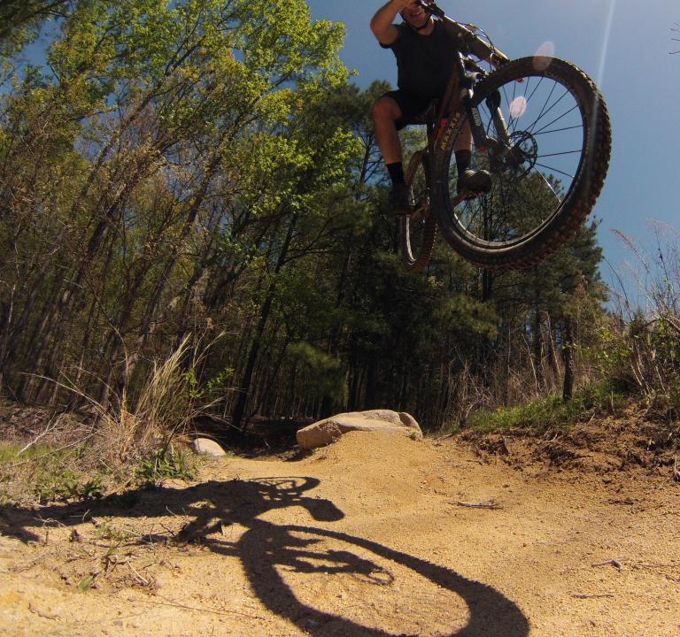 Mark jumping on a mountain bike