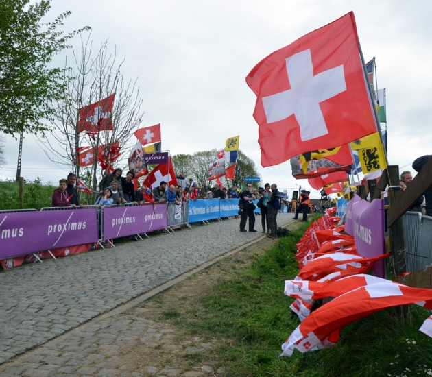 Fans of Swiss rider (and eventual winner) Fabian Cancellara were out in force