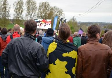 Fans watching the big screen
