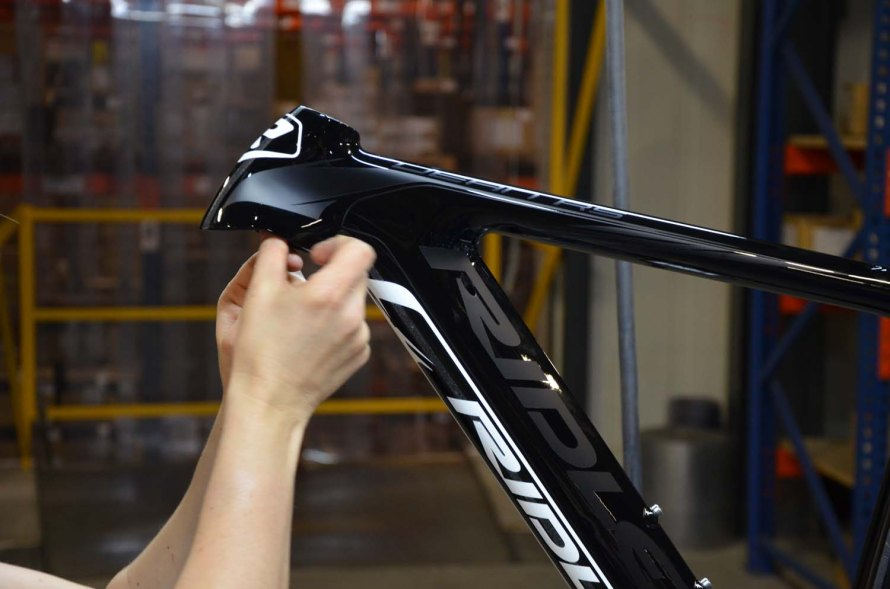 After clear coating, some bikes, like the Noah and Dean, will get F-Surface treatments applied