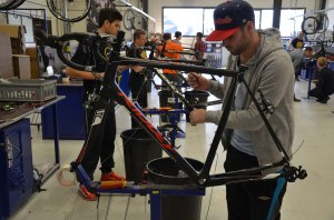 After the bikes are finally painted and prepped, they go to the assembly area