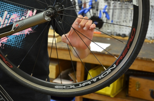 Squeeze the spokes together to see if any are loose