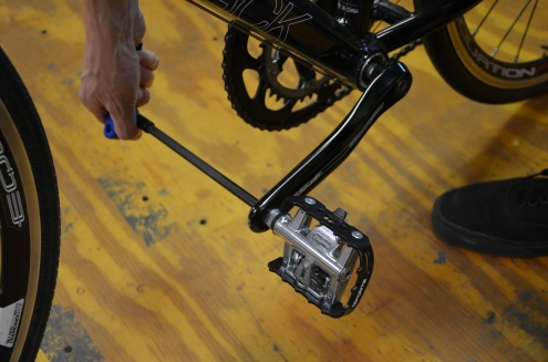 Use a hex wrench or pedal wrench to ensure your pedals are tight