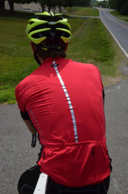 A big reflective stripe on the back helps you stay visible