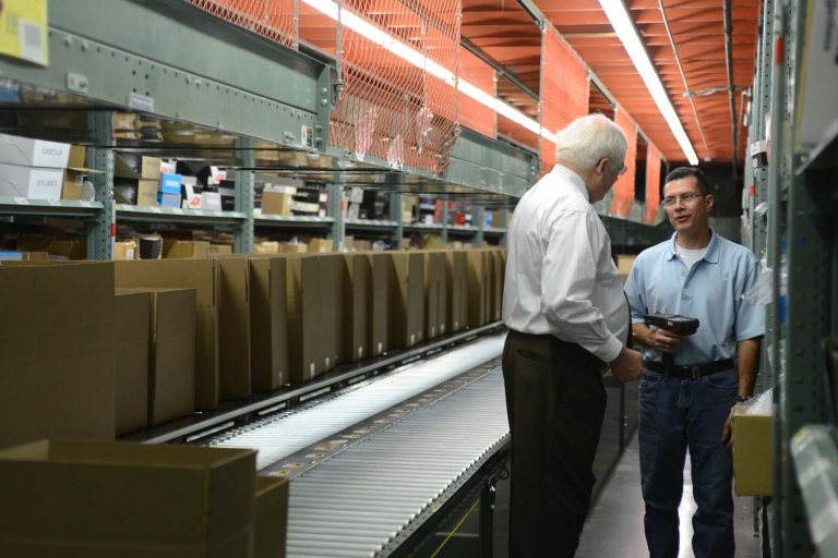 Rep. Price also met with many of our warehouse staff