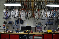 Full-fledged bike shop in the warehouse