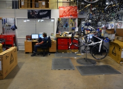 Repair shop in the warehouse