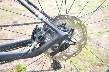 The upward slant of the chainstay helps to minimize hits from bad roads, and helps perfectly position the disc caliper