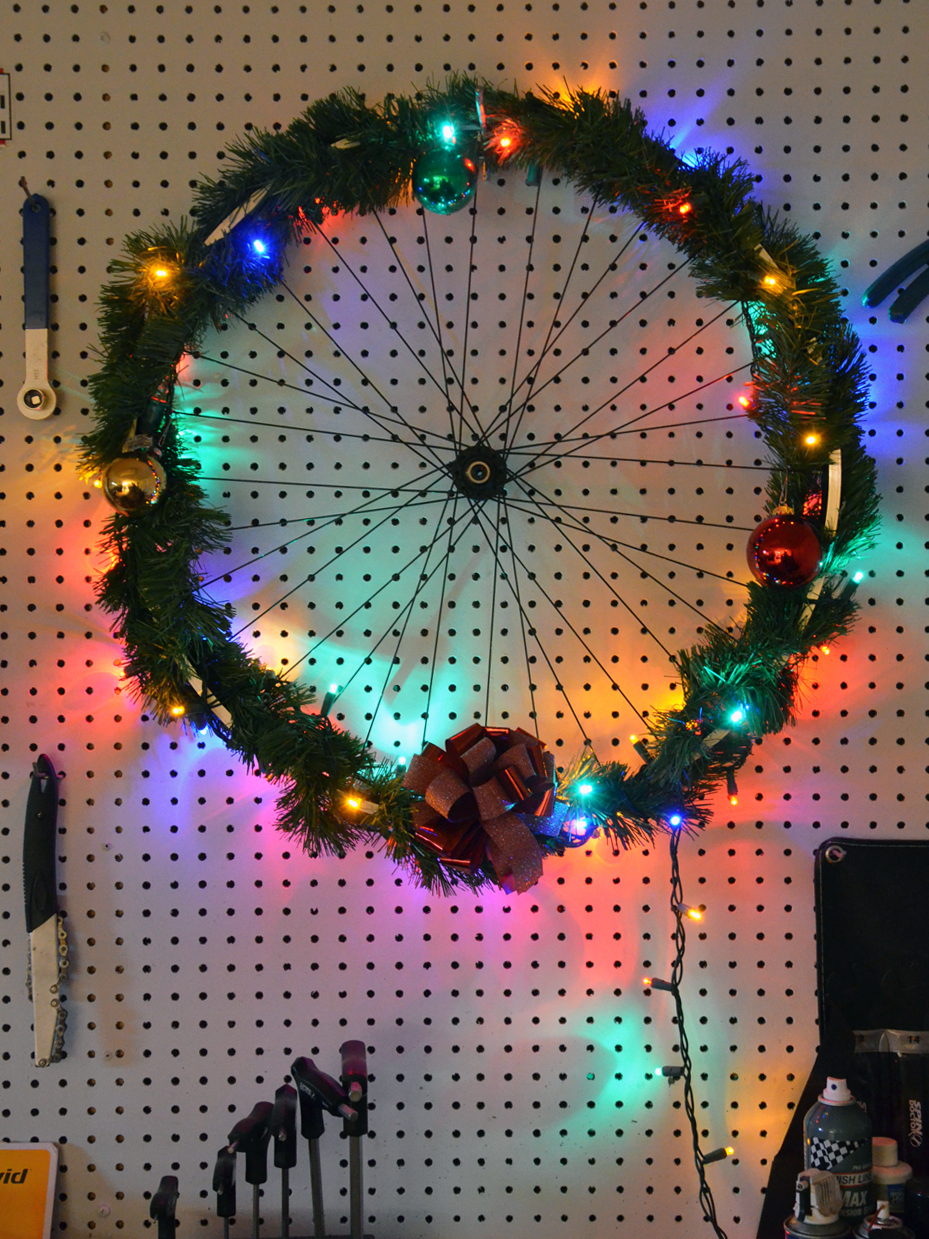 Christmas Bike Wheel Wreath