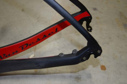 The frame has mounts for both disc brakes and caliper brakes