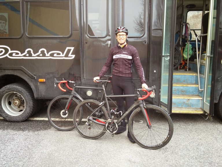 Edwin and his new bikes. And the Van Dessel Mobile.