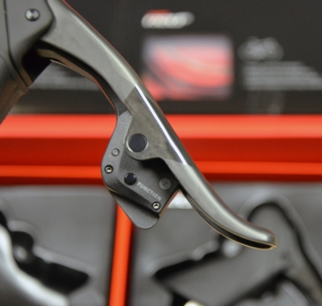 SRAM Red eTap Shift Levers - pairing with the derailleurs is done by pressing that button